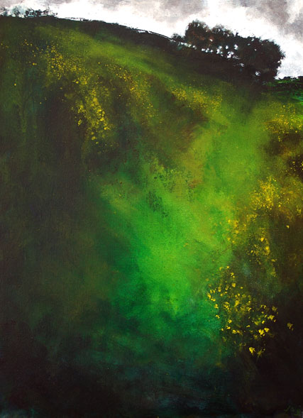 John O'Grady Art - An atmospheric Irish landscape painting with a luscious green that complement the gorse bushes in bloom