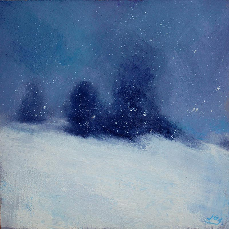 Atmospheric nocturne painting of snow falling 'Snowfall on Mont Ventoux' by John O'Grady