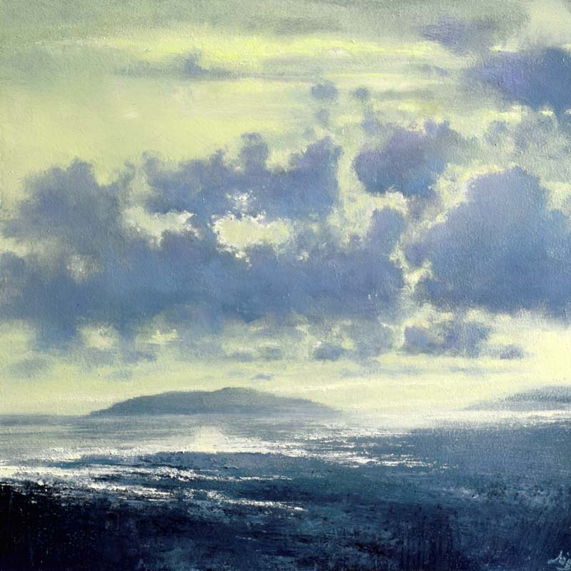 An atmospheric painting of an Irish shoreline suffused with blue-green light at dusk