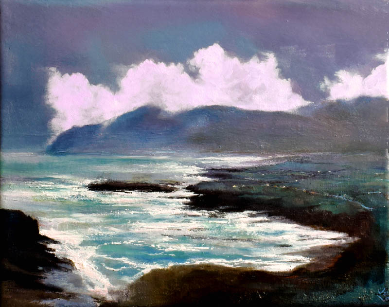 A view of the Irish coast along the Wild Atlantic Way on Achill on a stormy day