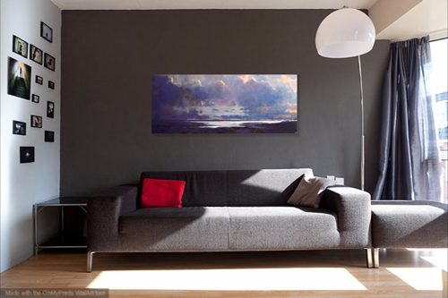 The Silver Sea (in a living room setting) by John O'Grady - Panoramic Irish seascape