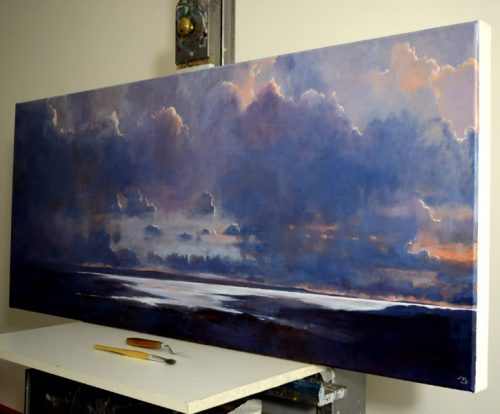 The Silver Sea (side view) by John O'Grady - a cloudy panoramic seascape