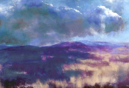 Painting of the bogland with blong grasses and heavy clouds