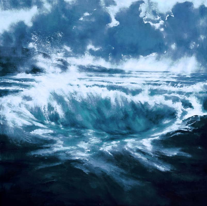 A blue-black wave on a stormy night by John O'Grady