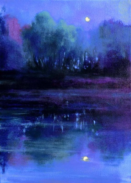 John O'Grady Art - Moonrise with Dragonflies