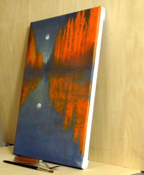 John O Grady Art - The Moon and the Poplars side view
