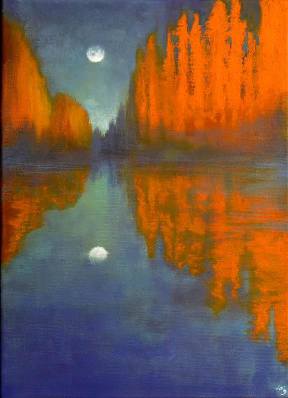 John O'Grady Art-The Moon and the Poplars | orange poplars cast reflections in the river