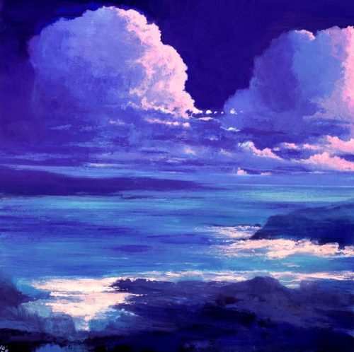 John O'John O'Grady Art - Into the West II | A skyscape with deep blue sky and a beautiful blue-green sea