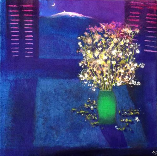 John O'Grady Art - Wildflowers by the Window | original still life with Mont Ventoux