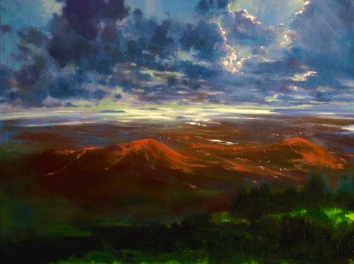 John O'Grady Art - As Far as the Eye Can See IV | A bird's eye view of an Irish landscape with shifting light at dusk
