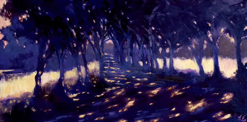 John O'Grady Art - I Took the One Less Travelled by | A 'chemin' in Provence dappled with light