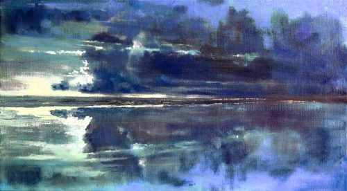 John O'Grady Art - Lights across the Bay | A quiet mainly blue painting with clouds' reflection in the still water at dusk