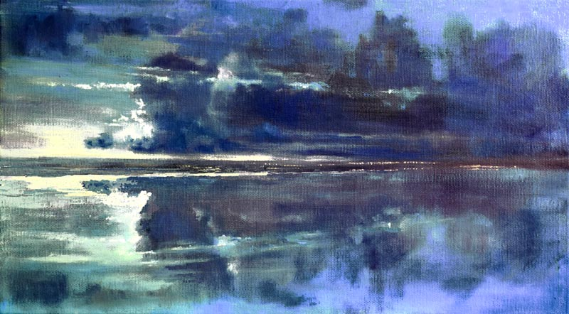 John O'Grady Art-Lights across the Bay | Irish seascape with blue reflections in the water