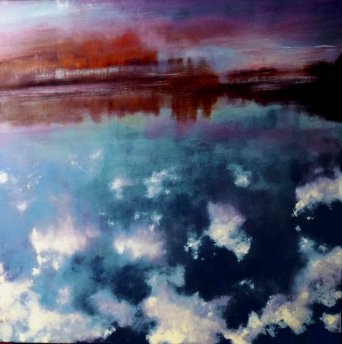 John O'Grady Art - Clouds in the River Rhone II | Blue painting with clouds' reflections in water