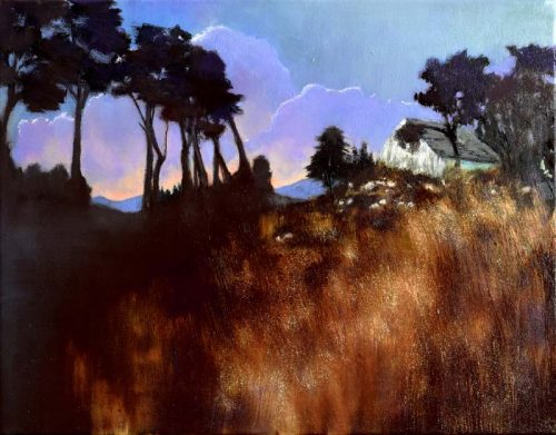 John O' Grady-Art-The Flight II- Irish landscape with cottage at sunset