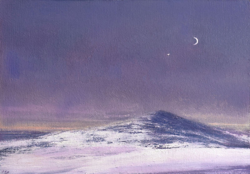 John OGrady Art - Winter in Wicklow | A moonlit snow-covered mountain in co Wicklow Ireland