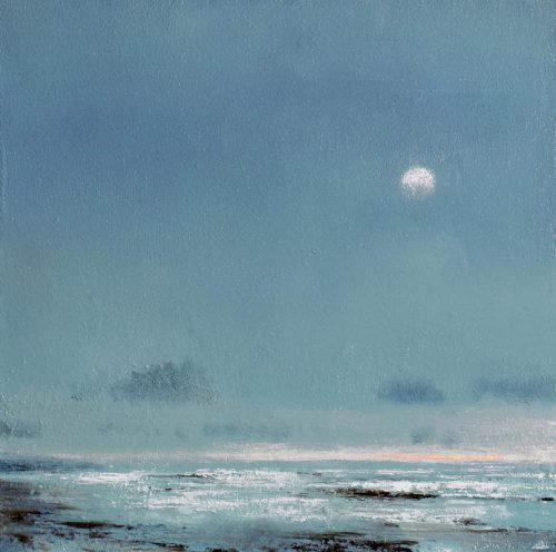 John OGrady Art - Low Tide at Dawn, a seascape with a big sky and a morning moon, Ireland