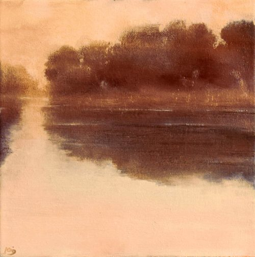John O'Grady Art - Dawn on the River | a muted palette to accentuate the quiet morning by the still water