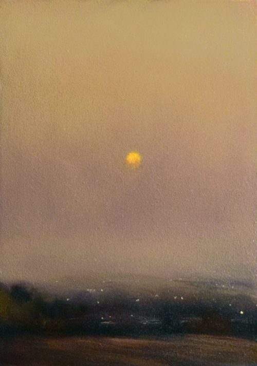 John OGrady Art - Soleil Levant - Provence | This atmospheric landscape painting exudes an air of mystery. On a misty morning, the rising sun glows in a soft, diffused, gold and lavender light.