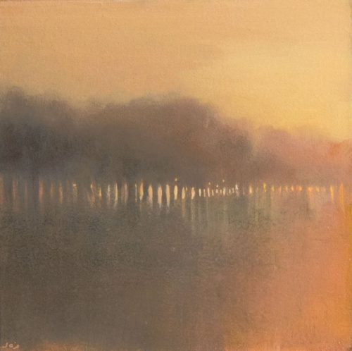 John O'Grady Art - The Awakening | A large statement artwork with subtle misty gold hue