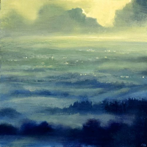John O Grady Art - Dawn Across the Fields, morning light, Irish landscape painting, mist, sunrise, green lightfields, blue and green