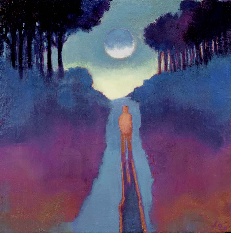 John O'Grady Art - The Road to the Moon | a dreamscape of a walker stepping up towards the full moon one warm evening in Provence