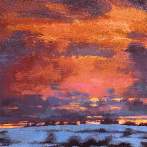 John O'Grady Art - The Turning of the Year IV - An Irish landscape painting of a winter sunset over the fields