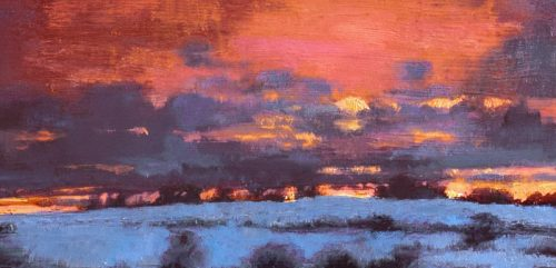 John O'Grady Art - The Turning of the Year IV | Detail of winter sunset painting with a big pink and orange sky and snow of the ground