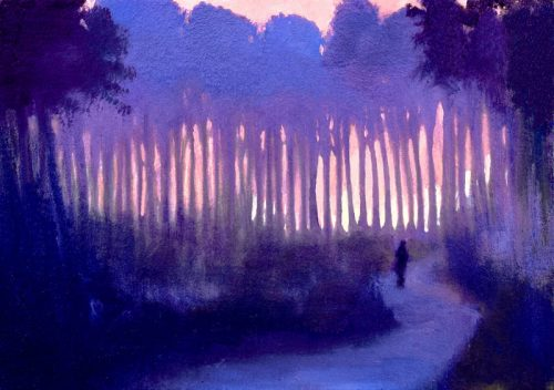 John O'Grady Art - A Murmur in the Trees V| Blue and Pink landscape painting of a stroll among tall pine trees in Provence at sunset