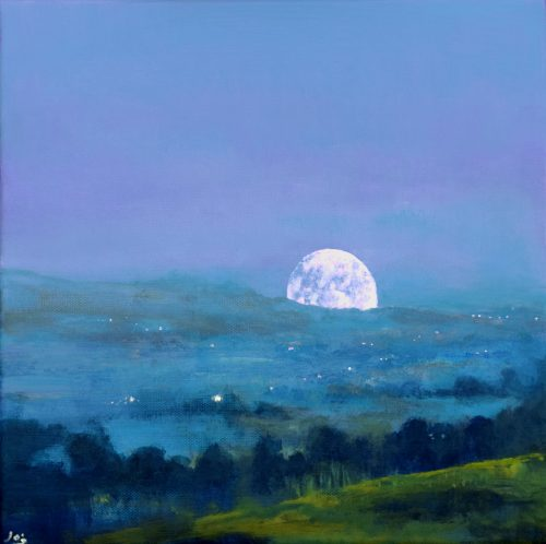 John O'Grady Art -The Road to the Moon II | Rising moon over the Irish landscape with dark blue and green colours