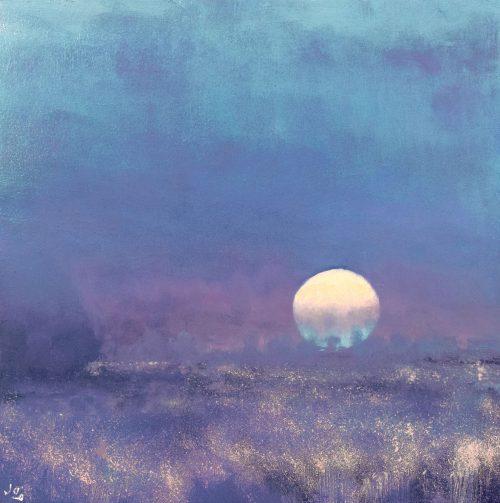 John O Grady Art - The Fallow Field II | Full Moon rising in Provence