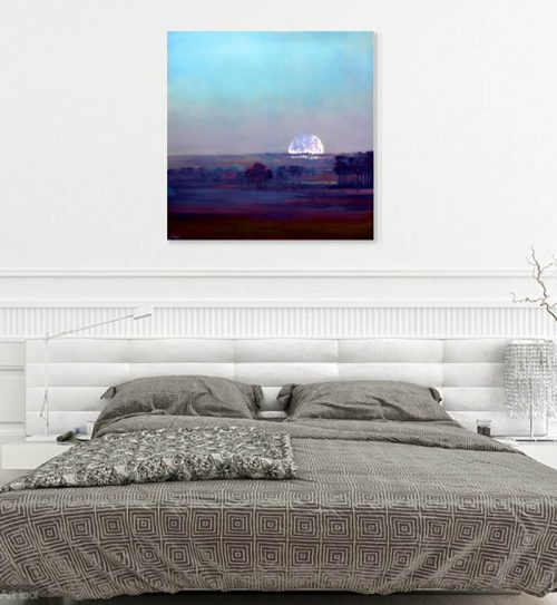 Saint Hippolyte at Dusk by John O'Grady | Painting of a full moon rising above a line of pine trees showing in situ in a bedroom