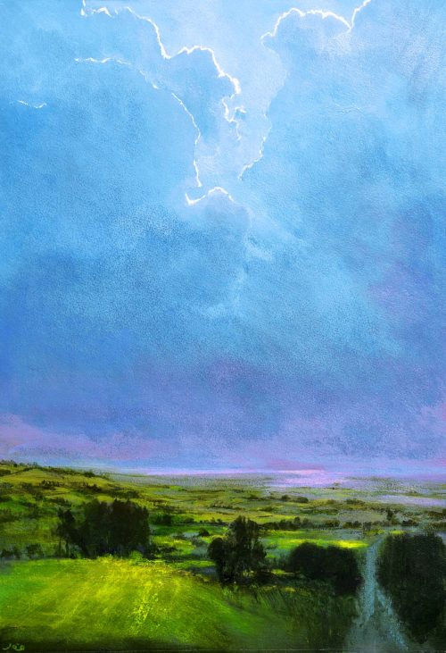 looking up-John O'Grady Art| Irish green fields with billowing clouds