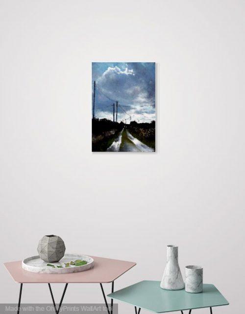 John O'Grady Art, The Road to the Sea   Art decor of an Irish landscape painting of the west coast of Ireland on a rainy day