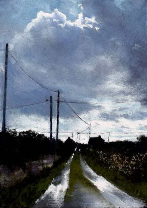 John O'Grady Art, The Road to the Sea | Irish landscape painting of west coast of Ireland on a rainy day