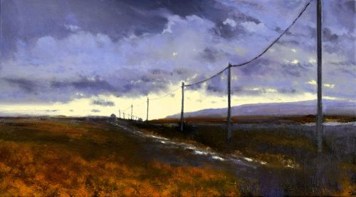 Into the Light, John O'Grady Art | An Irish landscape painting of a bogland with a track lined with telephone poles at dusk