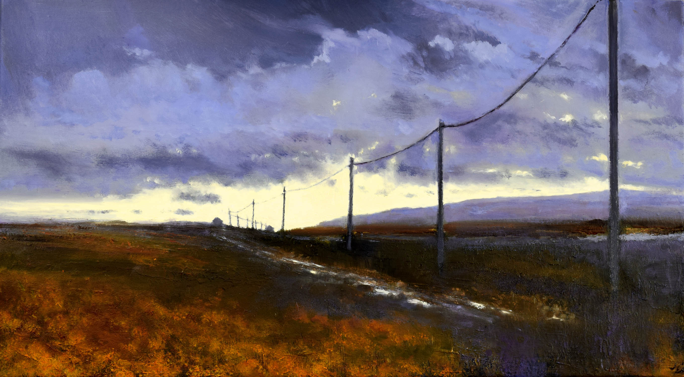 Into the Light, John O'Grady | Irish landscape painting of Irish bogland with telephone poles