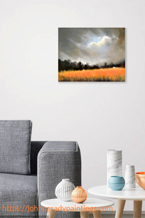 Sitting room decor idea with 'The Golden Field II' a painting by John O'Grady
