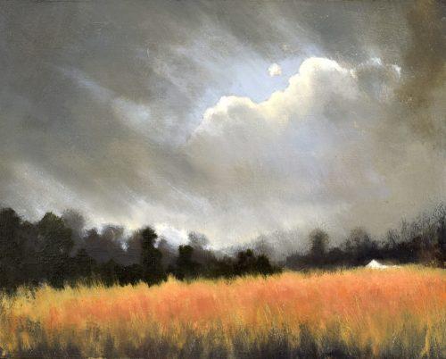 The Golden Field II, John O'Grady | An autumnal Irish landscape painting with a golden field on a rainy day