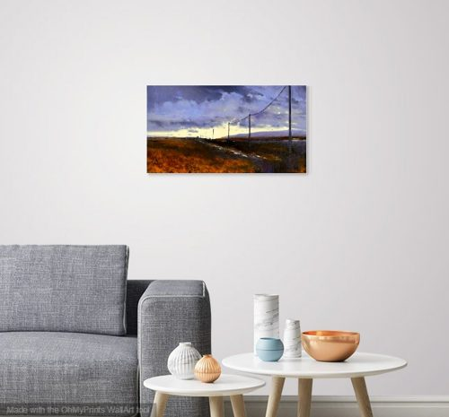Into the Light by John O'Grady | A small Irish landscape with a big sky and gold grasses at dusk shown in a living room setting
