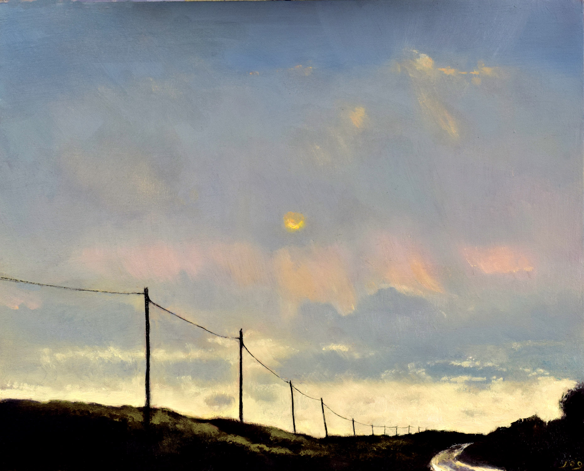John O'Grady - The Road to the Sea II | An atmospheric landscape painting with a dark sky above the road that leads us towards light on the horizon and the ocean