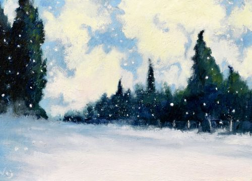 Cypresses and Snowflakes by John O'Grady | A medium sized oil painting with a snow covered landscape with cypresses and swirly clouds