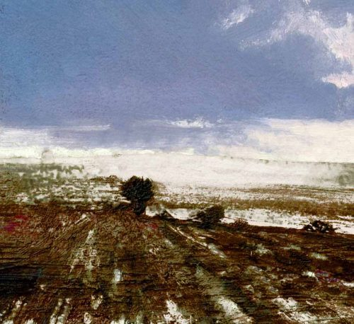 A detail with tree of Fields at Rest by John O'Grady | frozen landscape detail