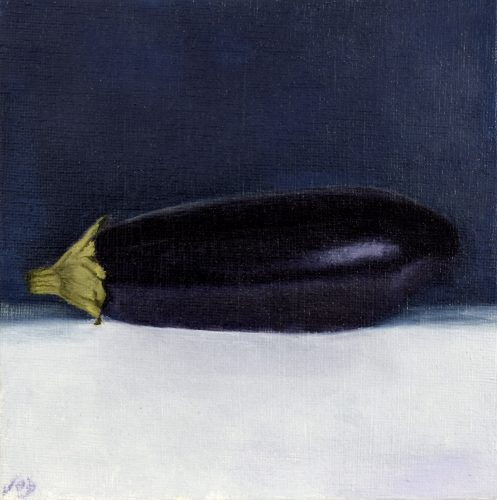 Morning Light with Aubergine by John O'Grady | A small oil on panel still life on a blue and white background
