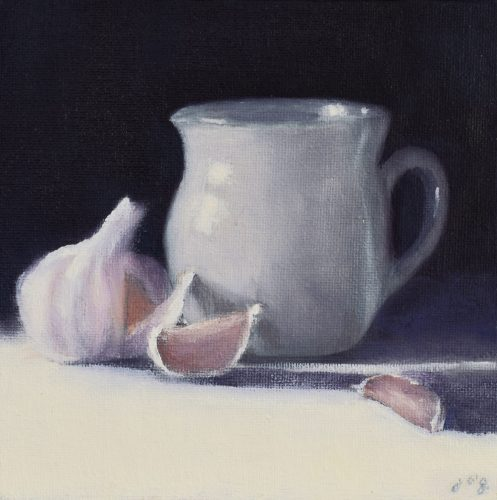 Morning Light with Ceramic and Garlic by John O'Grady | A small still life with a white ceramic and a head of garlic on a blue and white background