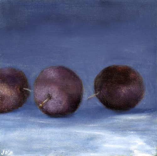 Three Plums on Blue by John O'Grady Art | A small still life with 3 fruits