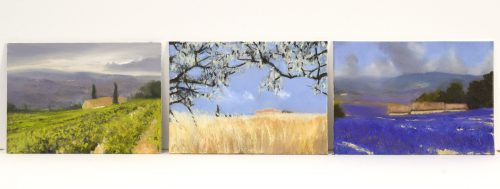 Summer in Provence, John O'Grady | A set of three small oil paintings that captures what grows in Provence in summer, lavender, vineyard, wheat