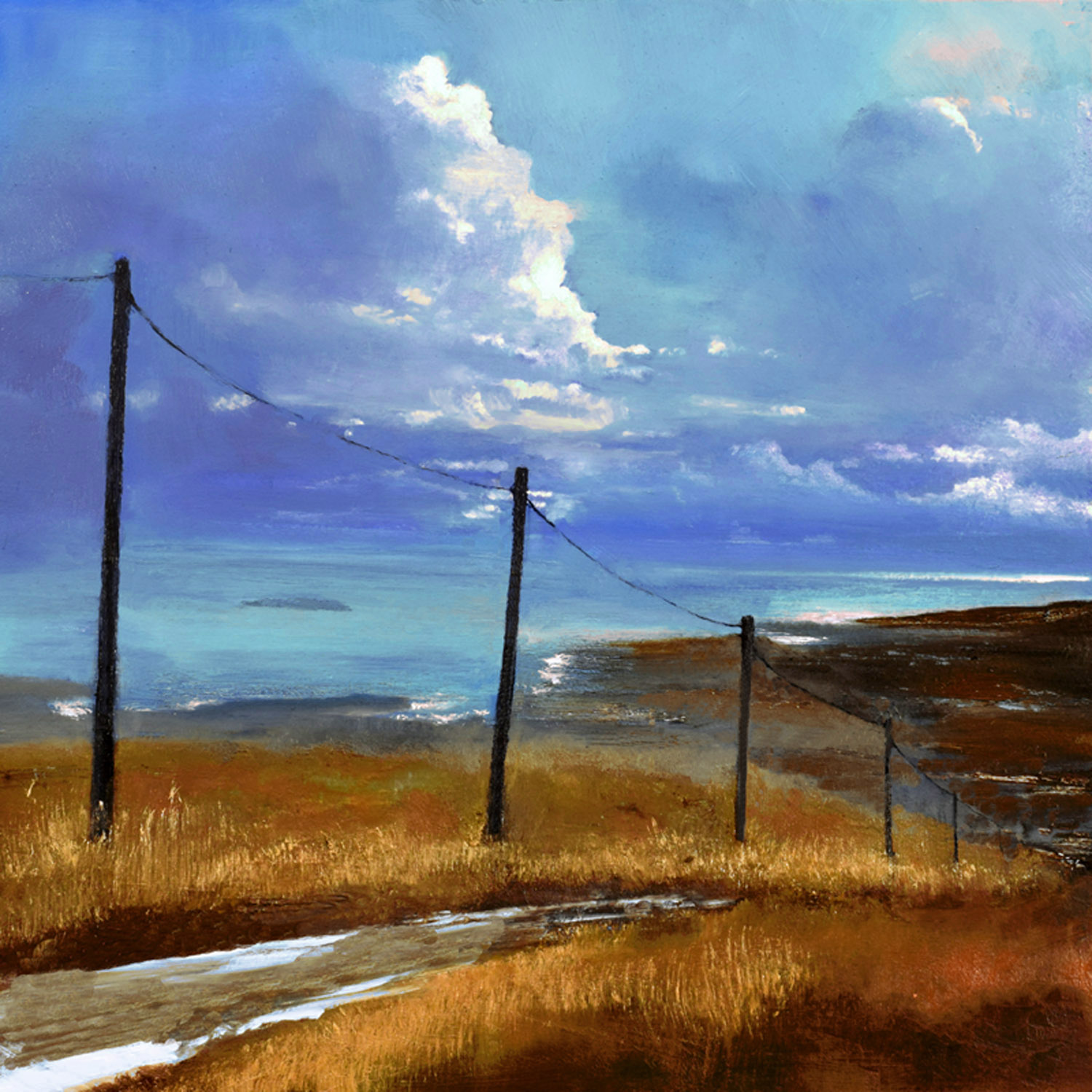 The Road to the Sea III, John O'Grady   A scenic coastal road on a rain-soaked day in the West of Ireland
