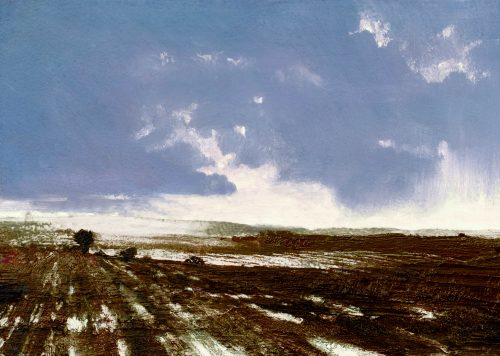 Fields at Rest by John O'Grady | A landscape painting with freezing fallow fields to mark the 100th Anniversary of Armistice Day