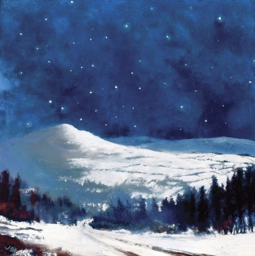 Winter Nocturne by John O'Grady | Snow-covered Wicklow mountains under a midnight-blue, star-studded sky
